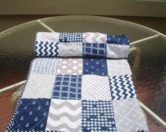 Nautical Baby quilt, navy, grey, chevron, crib quilt, baby girl quilt, boy bedding, anchors, waves, modern, blanket, toddler, All Nautical