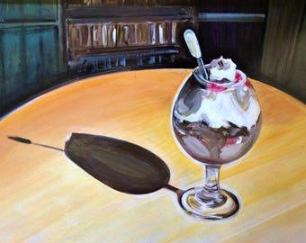 Wall Art - Original Acrylic Painting -Dessert Art - Glass - Still Life - Leah Reynolds