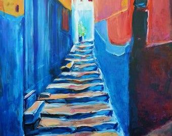 Art Print - Wall Art - Morocco Art - Staircase Art - Tangier Art- Leah Reynolds