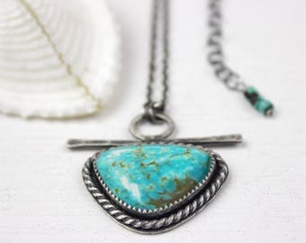 Turquoise Necklace, Turquoise Jewelry, Sterling Silver Turquoise Necklace, Turquoise Pendant
