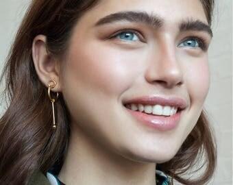 Tami earrings / gold, geometric gold earrings, long post stud earrings gold, cocktail earrings, modernist earrings, long gold earrings