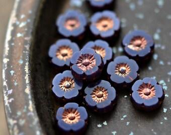 NEW! Wisteria Blooms - Premium Czech Glass Beads, Opalite Purple, Metallic Bronze, Hawaiian Flowers - 9mm - Pc 10