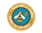 "Give Bees a Chance 2"" vinyl decal - illustrated friend of the bee by the Nemophilist"