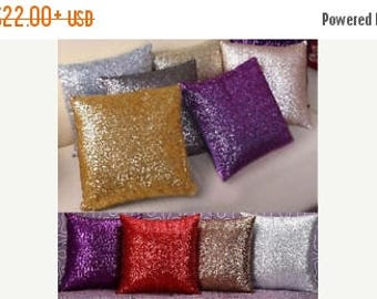 """ON SALE SEQUIN Pillow Covers- Colors- Pillow Case,Throw Pillow- cover, 14, 16, 18, 20, 24"""" square- Euro sham 27"""" or lumbar 12x18 sham, Weddi"""