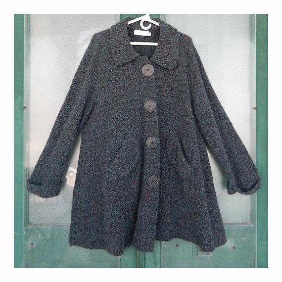 Willow Big Button Pocket Longer Cardigan -XL- Blue/Purple/Black Acrylic/Poly/Nylon