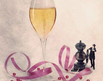 Champagne photography print, Champagne Glasses, Living room decor, Wedding, kitchen decor, champagne flutes, funny kitchen art, TIny trades