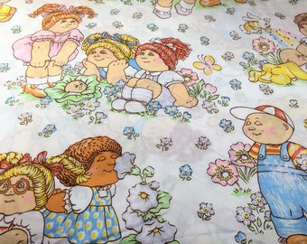 Vintage 1980s Cabbage Patch Kids Twin Flat Sheet, Cabbage Patch Kids Fabric, Retro 80s Character Bedding Fabric