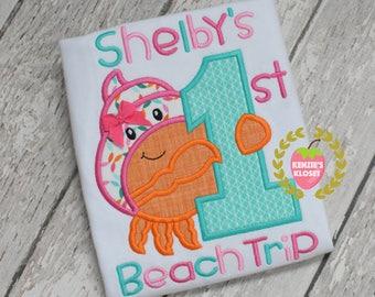 First trip to the beach shirt - First Beach trip appliqué shirt - Crab beach trip t-shirt - Babies 1st trip to the beach - beach appliqués