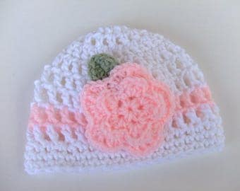 CROCHET PATTERN - CV094 Crochet Rose Baby Hat - PDF Download