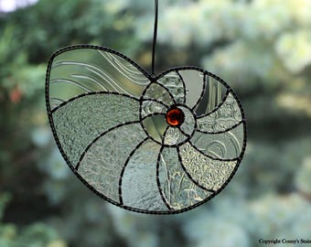 Nautilus Shell Stained Glass Suncatcher