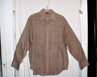 Vintage 70s Brown Beige Plaid Thin Shirt L Long Sleeve As Is