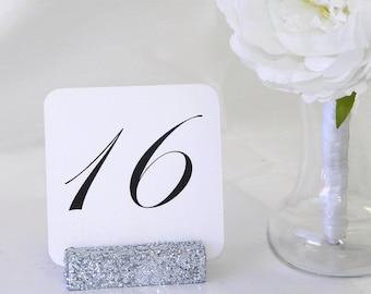 Table Number Holder + Silver Glittered Table Number Holders (Set of 10)
