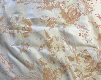 Peach & White Roses Floral - Faux Silk Brocade Fabric - 1 Yard