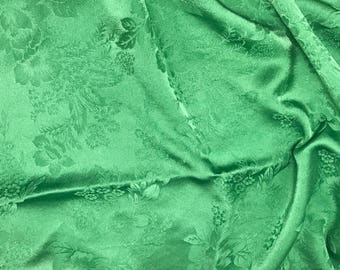 """Hand Dyed Spring Green FLORAL - Silk Jacquard Fabric - 9""""x22"""" remnant"""