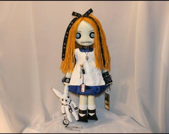 Alice in Wonderland Inspired Hand Stitched Rag Doll Creepy Gothic Outsider Art by Jodi Cain Tattered Rags