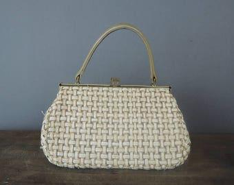 Vintage Purse Small Straw Raffia Summer Handbag, 1960s Lord & Taylor, 6x9 inches
