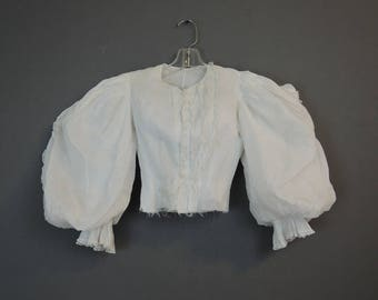 Antique White Cotton Blouse with Huge Puff Sleeves, XS 30 inch Bust, As Is