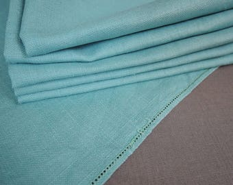 Vintage Turquoise Napkins, 6 Linen 1950s 1960s Kitchen Dining