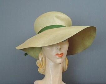 Vintage 1960s Wide Brim Hat, Fine Yellow-Beige Straw, fits 21 inch head