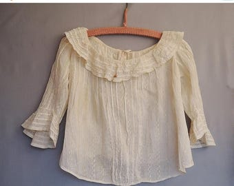 20% Sale - Antique Edwardian Blouse, Striped Ivory, XS Vintage fits 30 inch bust AS-IS, Nice details - covered buttons, pleats