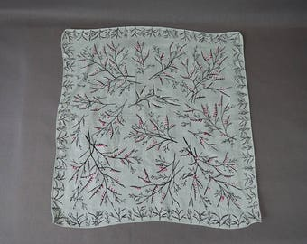 Vintage Hankie Pussy willow Pale Mint Green & Pink 1950s