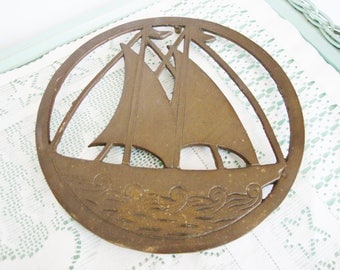 vintage brass nautical sailboat trivet hot plate beach cottage style