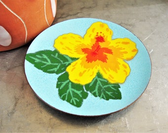 vintage copper enamel coaster trinket dish hibiscus flower annemarie davidson