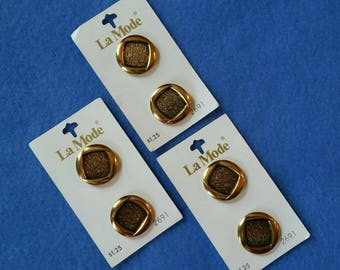 Vintage Antiqued Gold Shank Buttons by La Mode, six vintage buttons on cards, style 2691