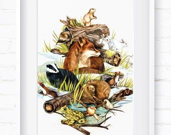 Winter in Nature, Home Decor, Wall Art, Art Print, Wall Decor, Giclée Print, Animal Print, Nursery Art, Children's Wall Art, Spring Animals