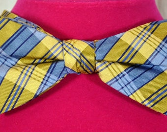 Countess Mara Men's Pure Silk Bow Tie Plaid - Yellow and Blue - One Size Adjustable - New with Tab - NOS