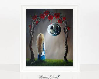 Alice And The Beautiful Nightmare - Alice In Wonderland Art Print - Fairytale Fantasy Artwork - Signed - Cheshire Cat - Moon - Goth - 8x10