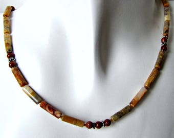 Crazy Lace Beaded Necklace,  Gemstone Necklace, Simple Necklace,  Sterling clasp, 19 inch Necklace, + Extender,  browns and creams,#1292