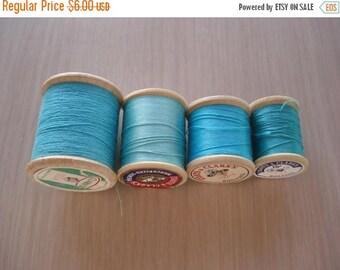 50% OFF SALE Lot of 4 Wood Spools of Vintage Thread - Shades of Aqua - #11