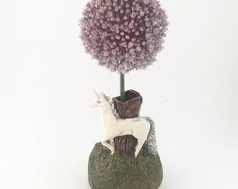Little Unicorn on a hill with tree ceramic miniature vase