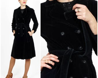 Sleek Vintage 1970s Black Velvet Double-breasted Belted Trench Coat by Joseph's/Drizzle   XS