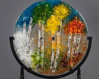 "Fused Glass Decorative Panel - BluDragonfly SRA - Four Seasons Scene - 10"" Circle"