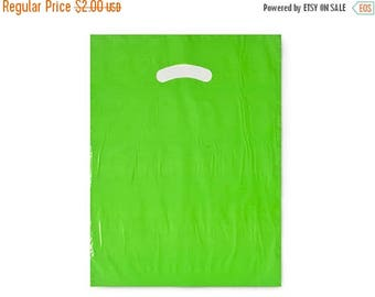 Summer Sale 50 Pack Lime green Opaque Cut Out Handle 9 X 12 Inch Size Retail Merchandise Plastic Bags