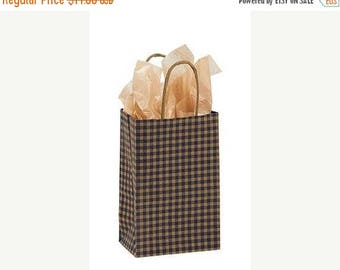 New Years Sale 25 pack Blue and Kraft Gingham Recycled 5.25 x 3.5 x 8.5 inch Paper Handle Bags