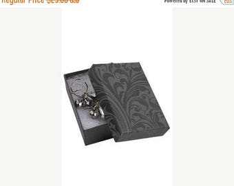 New Years Sale 50 Pack of 3.25X2.25X1 Inch Size High Quality Black Fleur Design Cotton Filled Jewelry Presentation Boxes