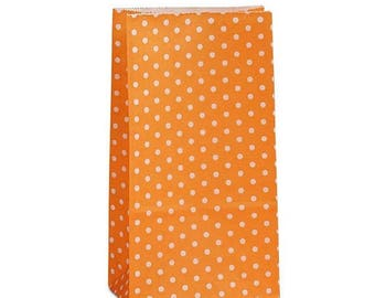 New Years Sale 25 pack Orange and white Polka Dot patterned SOS Style 3.65 X 2.25 X 7 Inch Bags