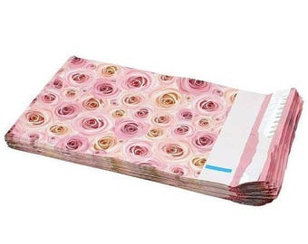 New Years Sale 25 Pack Tear Proof Rose Floral Design Plastic Poly Mailing Self Stick Closing Envelopes  6X9 Inches