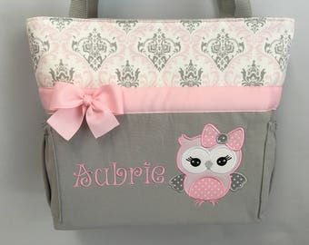 Dottie Owl ... Personalized Diaper Bag ... Pink Gray Madison Damask