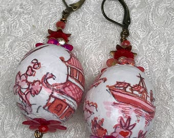 Lilygrace Red and White Handpainted Willow Pattern Earrings