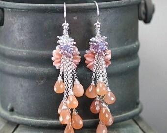 Summer SALE Pink Opal, Peach Moonstone, Tanzanite, Garnet, Blue Zircon. Amethyst dangle chain earrings, 925 Silver hooks ... GINATA Earrings