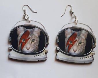 Bowie, Bowie cat, Bohannon, Cat lady, Catcon, Crazy cat lady, Kitty, Kitty earrings, Handmade, Cat earrings