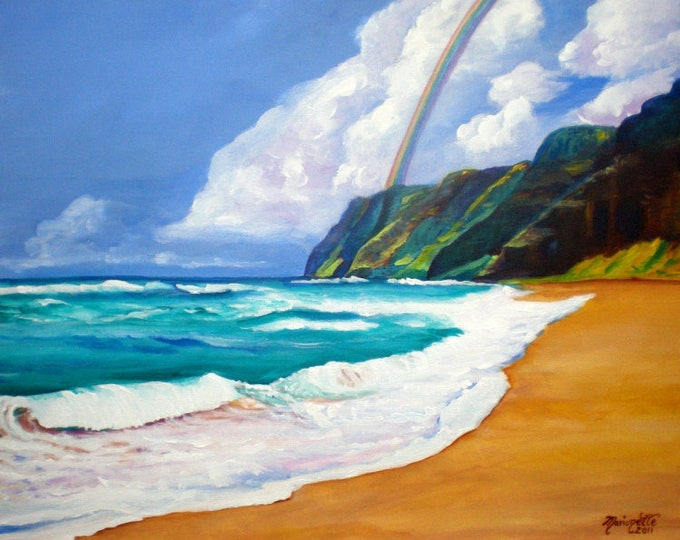 "Custom Order for Andrea - 11""x14 print of Polihale Rainbow"