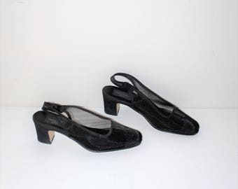 sheer black mesh sling back pumps 90s vintage minimal platforms slingbacks size 8