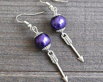ON SALE Silver Arrow Earrings With Purple Glass Pearls Design Artisan Arrow Earrings Swarovski Glass Pearl Beads Poison Arrow