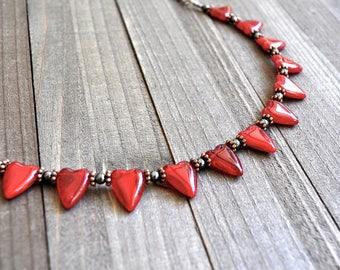 Red Heart Necklace Handblown Glass Queen of Hearts Choker Harlequin Cosplay Hematite Bead Bronze Necklace Adjustable