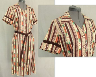 Brown Striped Dress, Vintage 1970's Polyester Dress, Modern Size 8 to 10, Small to Medium